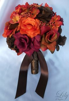 """17 Pieces Package Silk Flower Wedding Decoration Bridal Bouquet Fall Orange """"Lily Of Angeles"""" ORBR02 by LilyOfAngeles on Etsy https://www.etsy.com/listing/74998294/17-pieces-package-silk-flower-wedding"""