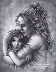 A Mother's Love artist Adele Lorienne Colouring Pages, Adult Coloring Pages, Coloring Book, Character Inspiration, Character Art, Fantasy Couples, Elfa, Portraits, Mothers Love