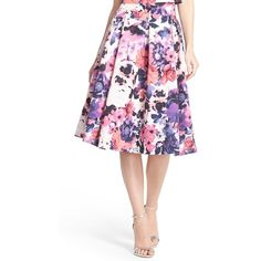 Women's Eliza J Floral Print Faille Midi Skirt ($89) ❤ liked on Polyvore featuring skirts, purple, floral print midi skirt, white midi skirt, wide skirt, floral knee length skirt and calf length skirts