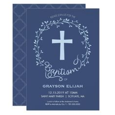 Baptism Christening Invitation - Baby Boy Invite - boy gifts gift ideas diy unique