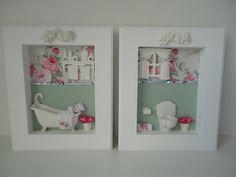 Quadro para banheiro, com fundo em tecido 100% algodão, com peças em resina e flores secas. R$ 149,90