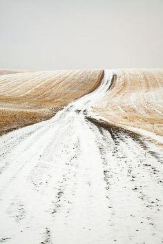 .snowy open road