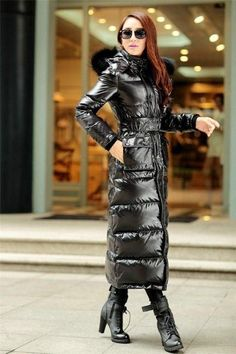 Full Length Womens Fur Hooded Slim Fit Duck Down Coat Winter Warm Outwear Jacket Moncler, Nylons, Long Down Coat, Long Coats, Coats For Women, Jackets For Women, Langer Mantel, Puffy Jacket, Fur Collars