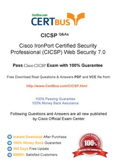 Candidate need to purchase the latest Cisco CICSP Dumps with latest Cisco CICSP Exam Questions. Here is a suggestion for you: Here you can find the latest Cisco CICSP New Questions in their Cisco CICSP PDF, Cisco CICSP VCE and Cisco CICSP braindumps. Their Cisco CICSP exam dumps are with the latest Cisco CICSP exam question. With Cisco CICSP pdf dumps, you will be successful. Highly recommend this Cisco CICSP Practice Test.