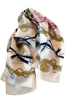 100% silk illustrated scarf, Cream Chain Stripes by EmmaKisstina, $120.