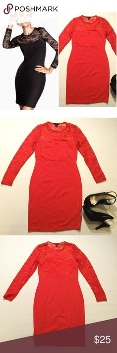 """H&M Lace Paneled Dress Size small. Beautiful upper Lace. Bust approx 30"""" stretchy fabric. Length approx 34.5"""" arm length approx 21.5""""  Orange/red color. 95% cotton 5% elastane H&M Dresses Mini"""