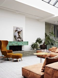 lounge room interior mostard velvet chair leather sofa interior greens