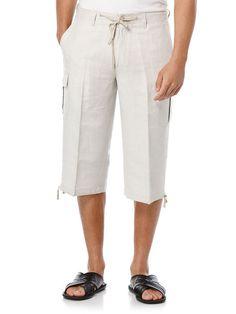 Linen/Rayon Clamdigger, Natural Linen, hi-res Birch Wedding, Perry Ellis, Linen Pants, Natural Linen, Bermuda Shorts, Stylish, Men, Shopping, Check