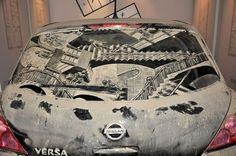 Driving behind this MC Escher inspired work would be dangerously mesmerizing. #InkedMagazine #art #dirt #car #dirtycar #cool