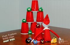 elf on a shelf playing angry birds