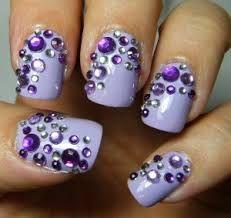 9 Easy Purple Nail Art Designs with Images Ongles Bling Bling, Rhinestone Nails, Bling Nails, Diy Nails, Prom Nails, Jewel Nails, Homecoming Nails, Neutral Nails, Wedding Nails