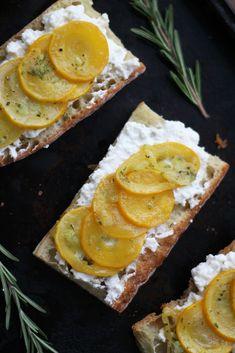 Summer Squash Tartines with Ricotta, Rosemary and Lemon.