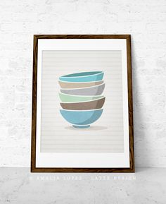 Kitchen print Stacked bowls Mothers day print by LatteDesign, $15.00