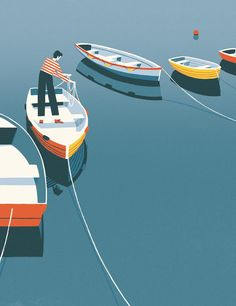 The life we all dream of in David Doran & illustrations Picame - - Ocean Illustration, Graphic Illustration, Graphic Art, Boat Vector, Vector Art, Boat Drawing, Fishing Boats, Fishing Games, Destin Fishing