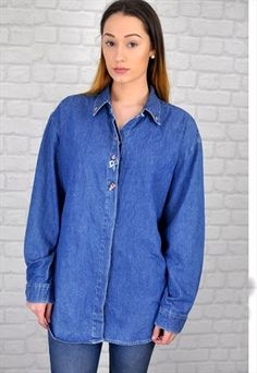 1980s+Vintage+Denim+Shirt+with+Embroidered+Detail
