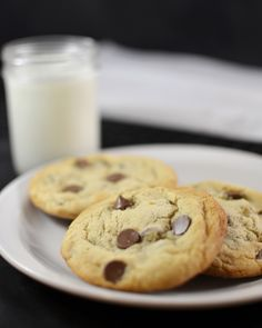 Chocolate Chip Cookies for Two: makes 2 big cookies or 4 regular sized ones