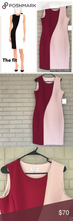 Calvin Klein CD7M1T9V color block Sheath dress 14 Beautiful career business work chic Sheath color block $134 dress by Calvin Klein. It is a size 14. Color is a nude/blush and a light merlot wine color. Style number is CD7M1T9V. There is a side zipper for closure. Material is a Polyester/Spandex Blend. It is lined. *Small dot sized spot on upper back of neck-picture provided-hardly noticeable* measured lying flat is: 38 in bust. There is some stretch, and 38 inch length. Calvin Klein Dresses…