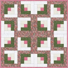 Flower Garden Patch Pre-Cut Quilt Kit Blocks 36x36 from Quilt Kit Shop