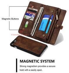 CaseMe 008 iPhone 7 Plus Detachable 2 in 1 Zipper Wallet Folio Case Brown