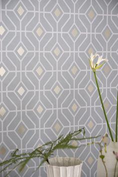 Laterza by Designers Guild - Zinc - Wallpaper : Wallpaper Direct Bathroom Wallpaper Metallic, Linen Wallpaper, Trellis Wallpaper, Graphic Wallpaper, Kitchen Wallpaper, Wall Wallpaper, Geometric Wallpaper Dining Room, Modern Wallpaper, Designers Guild