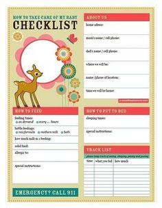 baby love babysitter checklist (printable pdf)