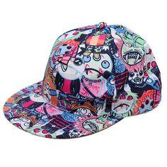 e9622c9a05f Graffiti Eye Vampire Cartoon Hip-Hop Cap Baseball Hat Flat Outdoor... (21  BRL) ❤ liked on Polyvore featuring accessories