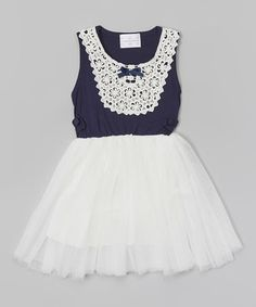 Love this Dark Blue & White Lace Bib Dress - Toddler & Girls by Blossom Couture on #zulily! #zulilyfinds
