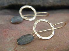 Labradorite earrings gold loop dangle earrings