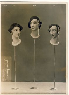 Large Fashion Photo of 3 Mannequin Heads on Stands Pierre Imans Paris Mannequin Display, Vintage Mannequin, Mannequin Heads, Doll Head, Doll Face, Store Mannequins, Hat Stands, The Uncanny, Light And Shadow