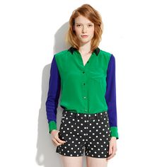 Silk Colorblock Boyshirt    colorblocking: one of the top things I need to incorporate in my wardrobe