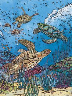 Julie Dunn Fine Art - Green Sea Turtles