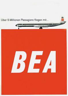 Poster by Geissbühler Domenic K. / Über 5 Millionen Passagiere fliegen mit BEA / 1963