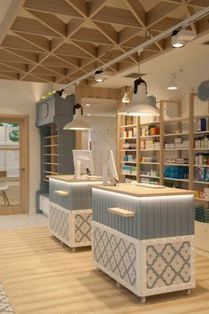 Wood and stoneware Medical Shop Decoration Ideas - Retail Shop Interior Design & Store Layout Design Design Exterior, Shop Interior Design, Design Shop, Custom Design, Retail Store Design, Retail Shop, Retail Displays, Shop Displays, Window Displays