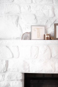 How To Whitewash A Stone Fireplace - Coffee With Summer Whitewash Stone Fireplace, White Stone Fireplaces, Stone Fireplace Makeover, Painted Brick Fireplaces, Paint Fireplace, Rock Fireplaces, Home Fireplace, Fireplace Design, Fireplace Makeovers