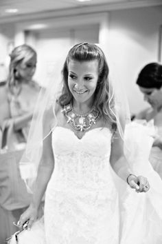 That necklace. BHLDN. Photography: Alison Conklin Photography - alisonconklin.com  Read More: http://www.stylemepretty.com/tri-state-weddings/2014/02/05/nautical-montauk-wedding-at-gurneys-resort-spa/
