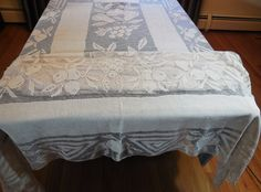 Antique Hand Filet Lace Banquet Tablecloth by RIDGEFIELDTREASURES