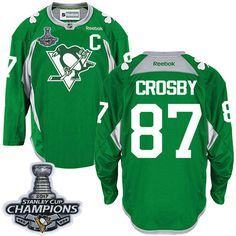 Reebok Pittsburgh Penguins  87 Men s Sidney Crosby Authentic Green Practice Stanley  Cup Champions NHL Jersey 038243f5a