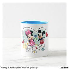 Mickey & Minnie | Love you Lots. Regalos, Gifts. Producto disponible en tienda Zazzle. Tazón, desayuno, té, café. Product available in Zazzle store. Bowl, breakfast, tea, coffee. #taza #mug