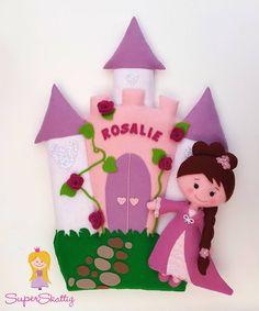 Princess Rosalie - Rosalie Baby Name - Ideas of Rosalie Baby Name - Princess Rosalie Felt Diy, Felt Crafts, Fabric Crafts, Diy And Crafts, Crafts For Kids, Felt Name Banner, Name Banners, Felt Ornaments, Christmas Ornaments