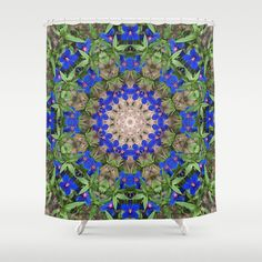 Peacock colored floral mandala shower curtain, nature photograph, blue, green kaleidoscope, symmetry home decor, bathroom decor by RVJamesDesigns on Etsy