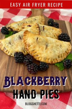 These Easy Air Fryer Blackberry Hand Pies are made using already made pie crusts with a homemade blackberry pie filling inside them. The hand pies are air fried which means they are ready fast without heating up your oven. Easy dessert made quickly. Serve as is or with a scoop of vanilla ice cream Summer Dessert Recipes, Easy Desserts, Delicious Desserts, Holiday Desserts, Blackberry Pie Fillings, Premade Pie Crust, Homemade Pie Crusts, Hand Pies, Tart Recipes