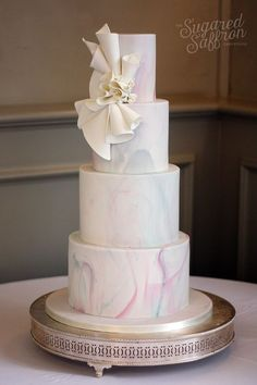 """"""" Contemporary Wedding Cakes Our collection of modern wedding cake designs are sought after by Wedding Cakes With Cupcakes, White Wedding Cakes, Cupcake Cakes, Purple Wedding, Spring Wedding, Gold Wedding, Contemporary Wedding Cakes, London Cake, Wedding Cake Designs"""