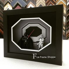 This tribute to Darth Vader shows how a story can be created with a shadowbox. Our mat creator was used to recreate a hall in the Death Star and then Darth and a stormtrooper were placed inside for an awesome 3D effect!