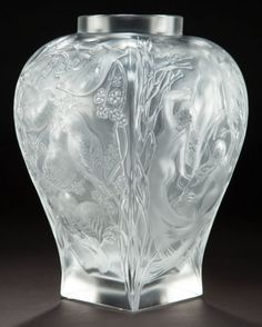 A CASED LALIQUE CLEAR AND FROSTED GLASS VASE: HOMAGE  Lalique, Wingen-sur-Moder, France, 1995  Engraved: Lalique, France
