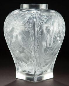 A CASED LALIQUE CLEAR AND FROSTED GLASS VASE: HOMAGE  Lalique, Wingen-sur-Moder, France, 1995  Engraved: Lalique, France