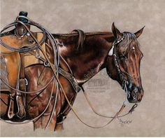 Western Colored Pencil Art Drawings | Colored Pencil Western Rope Horse Print by by BrucknerCowboyArt