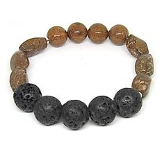Naturally Rugged Aromatherapy Bracelet My name is Naturally Rugged. Even though I was refined to be jewelry, I was found in the wild and will never lose my taste of adventure. I am hand crafted with natural lava stones, natural semi-preciouschrysanthemum stone beads and sterling silver accents. If you love this bracelet, you should check out the matching necklace. Buy the set and save $10. Bracelet is made with stretch cord and is flexible to different wrist sizes.