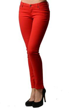 Red Color Denim Skinny Jeans
