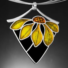 Ivy Woodrose Enamel Basse Taille Necklace