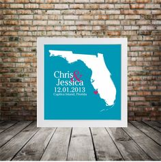 FLORIDA Wedding Gift Custom State Map by DefineDesign11 on Etsy, $18.00